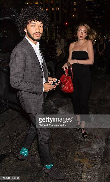 Actor Justice Smith and actress Raffaella Meloni are seen arriving at the CHANEL Fine Jewelry Dinner in honor of Keira Knightley at The Jewel Box...