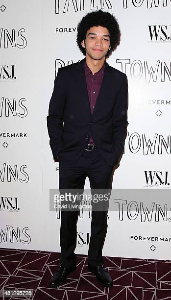 "Actor Justice Smith attends a screening of 20th Century Fox's ""Paper Towns"" at the London West Hollywood on July 18, 2015 in West Hollywood,..."