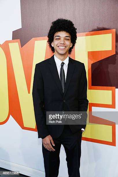 Actor Justice Smith attends The 2015 MTV Movie Awards at Nokia Theatre LA Live on April 12 2015 in Los Angeles California
