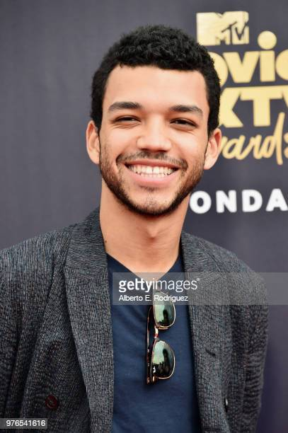 Actor Justice Smith attends the 2018 MTV Movie And TV Awards at Barker Hangar on June 16 2018 in Santa Monica California
