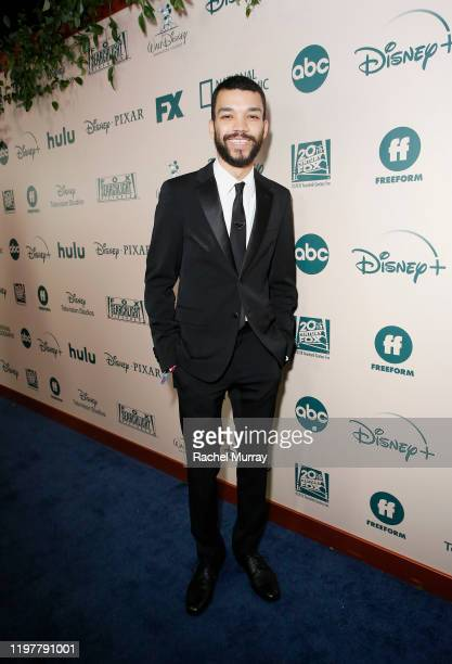 Actor Justice Smith attends the 2020 Walt Disney Company Post-Golden Globe Awards Show celebration at The Beverly Hilton Hotel on January 05, 2020 in...