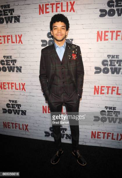 Actor Justice Smith attends The Get Down Part 2 New York Kickoff Party at Irving Plaza on April 5 2017 in New York City