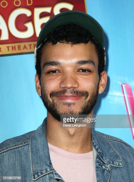 Actor Justice Smith attends the national tour of Waitress Los Angeles engagement celebration at the Hollywood Pantages Theatre on August 3 2018 in...