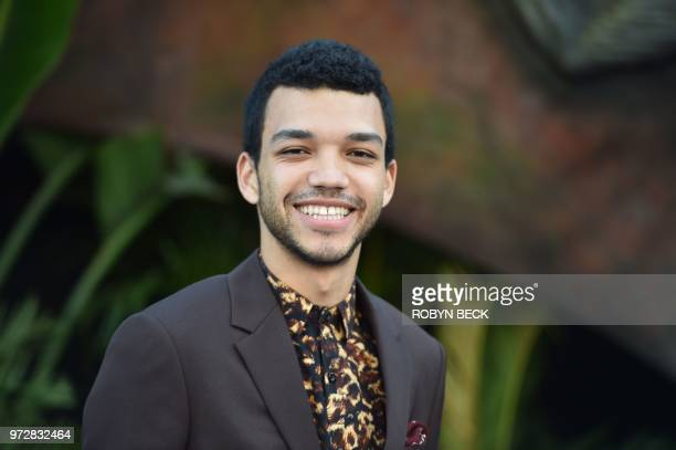 "Actor Justice Smith attends the premiere of ""Jurassic World: Fallen Kingdom"" on June 12, 2018 at The Walt Disney Concert Hall in Los Angeles,..."