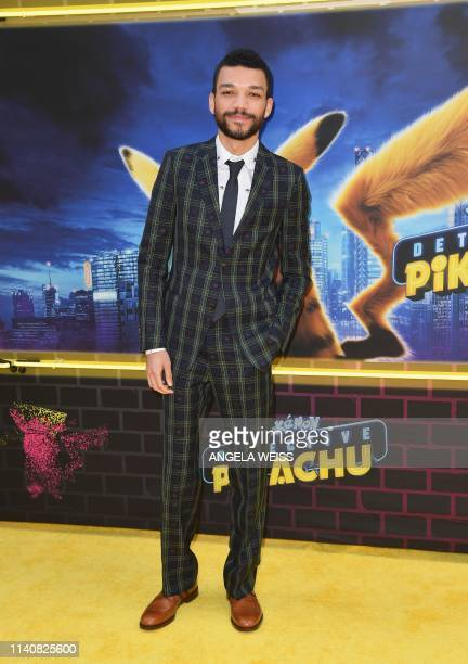 "Actor Justice Smith attends the premiere of ""Pokemon Detective Pikachu"" at Military Island - Times Square on May 2, 2019 in New York City."