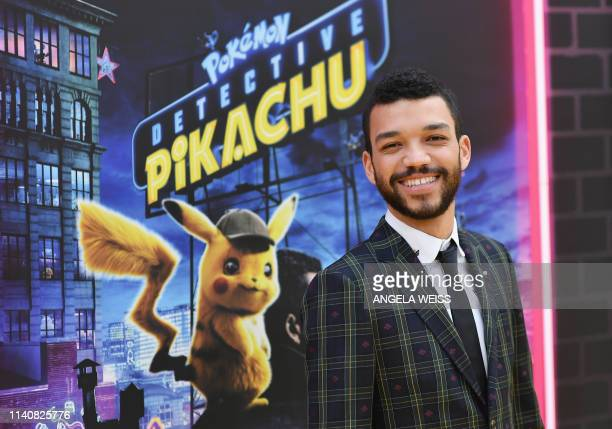 "Actor Justice Smith attends the premiere of ""Pokemon Detective Pikachu"" at Military Island - Times Square on May 02, 2019 in New York City."