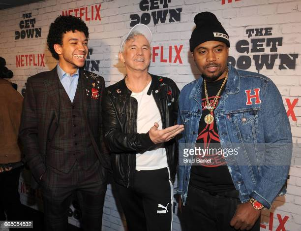 Actor Justice Smith Baz Luhrmann and Nas attend The Get Down Part 2 New York Kickoff Party at Irving Plaza on April 5 2017 in New York City