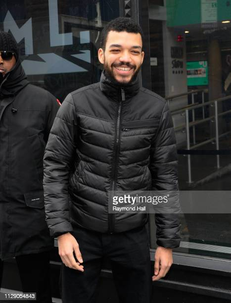 Actor Justice Smith is seen outside aol build on March 7, 2019 in New York City.