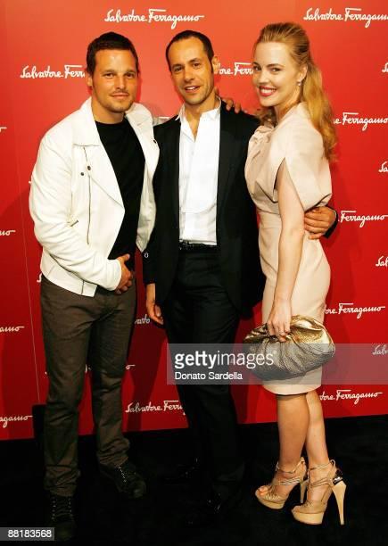 Actor Justin Chamber, Ferragamo designer Massimiliano Giornetti and actress Melissa George attend the Ferragamo event with Debi Mazar and Adrian...