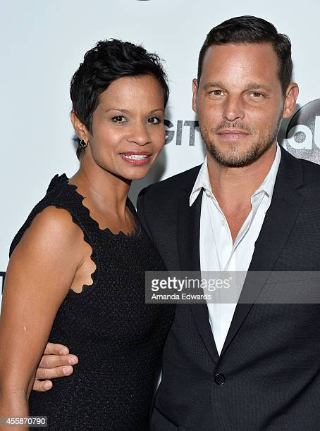 Actor Justin Chambers and his wife Keisha Chambers arrive at the #TGIT Premiere Event hosted by Twitter at Palihouse Holloway on September 20 2014 in...