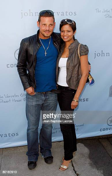 Actor Justin Chambers and Keisha Chambers arrive to the John Varvatos 6th Annual Stuart House Benefit at the John Varvatos store on March 9 2008 in...