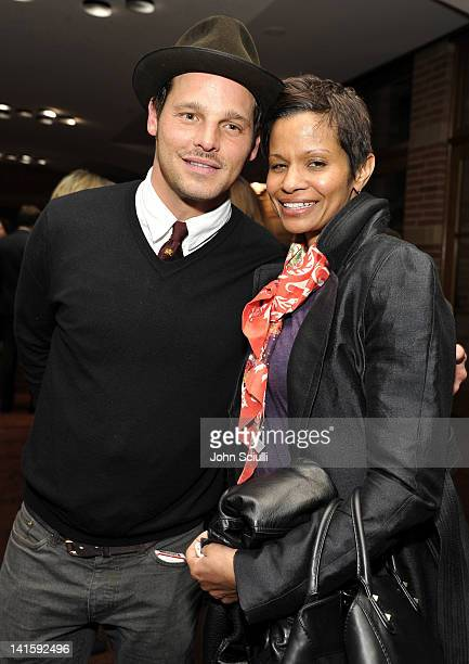 Actor Justin Chambers and Keisha Chambers attend Grey's Anatomy: The Songs Beneath The Show after party hosted by Remy Martin VSOP on March 18, 2012...