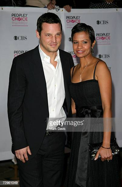 Actor Justin Chambers and wife Keisha arrive at the 33rd Annual People's Choice Awards held at the Shrine Auditorium on January 9 2007 in Los Angeles...