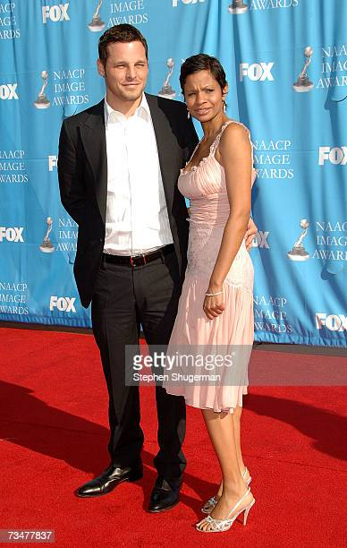 Actor Justin Chambers and wife Keisha Chambers arrive at the 38th annual NAACP Image Awards held at the Shrine Auditorium on March 2 2007 in Los...