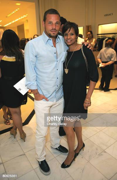 Actor Justin Chambers and wife Keisha Chambers attend the Kickoff Party for the Butterfly Ball hosted at the Saks Fifth Avenue men's store on April...