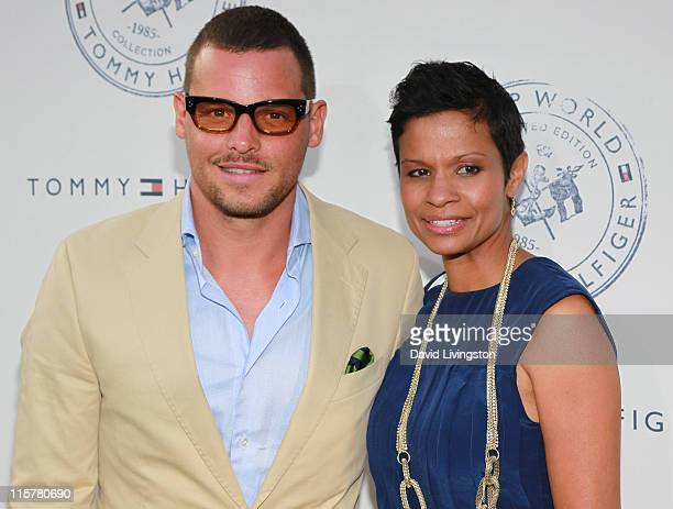 Actor Justin Chambers and wife Keisha Chambers attend the launch party for Tommy Hilfiger's Prep World Pop Up House at The Grove on June 9 2011 in...