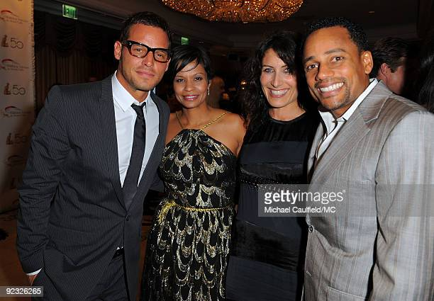 OUT*** Actor Justin Chambers his wife Keisha Chambers actress Lisa Edelstein and actor Hill Harper attend the Monte Carlo Television Festival...
