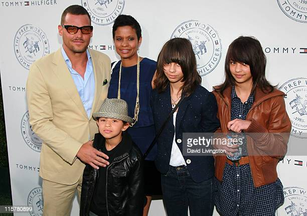 Actor Justin Chambers wife Keisha Chambers and children attend the launch party for Tommy Hilfiger's Prep World Pop Up House at The Grove on June 9...