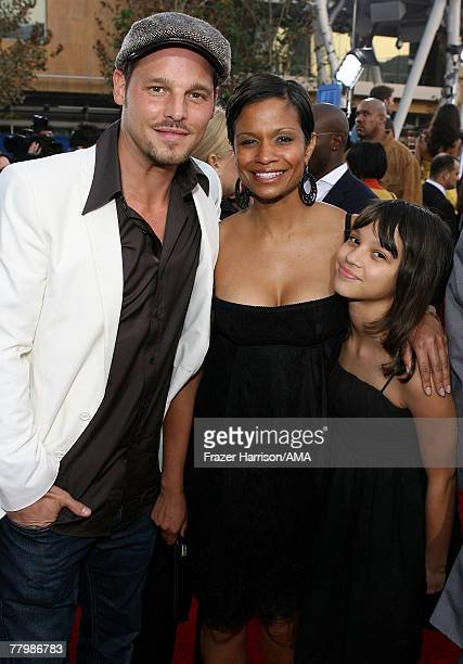 Actor Justin Chambers wife Keisha Chambers and daughter arrive at the 2007 American Music Awards held at the Nokia Theatre LA LIVE on November 18...