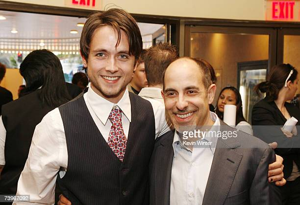 Actor Justin Chatwin and director David S Goyer pose at a screening of Hollywood Picture's The Invisible at the Bruin Theatre on April 24 2007 in Los...
