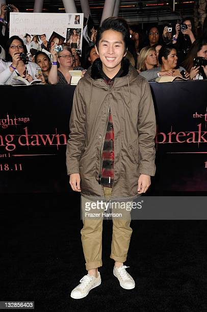 Actor Justin Chon arrives at Summit Entertainment's The Twilight Saga Breaking Dawn Part 1 premiere at Nokia Theatre LA Live on November 14 2011 in...