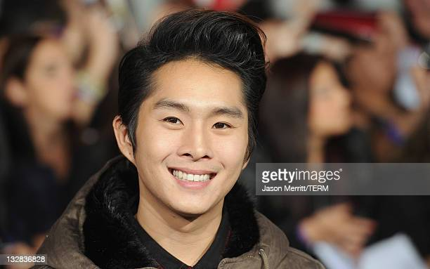 Actor Justin Chon arrives at the Premiere of Summit Entertainment's The Twilight Saga Breaking Dawn Part 1 at Nokia Theatre LA Live on November 14...