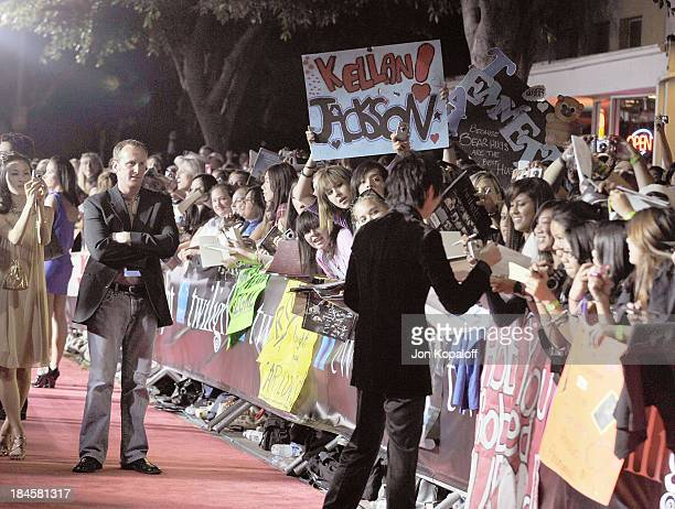 Actor Justin Chon greeting fans at the Los Angeles Premiere Twilight at the Mann Village Theater on November 17 2008 in Westwood California