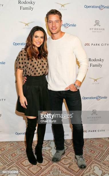 Actor Justin Hartley and Chrishell Stause attend Operation Smile's Celebrity Ski Smile Challenge Presented by the Rodosky Family on March 11 2017 in...