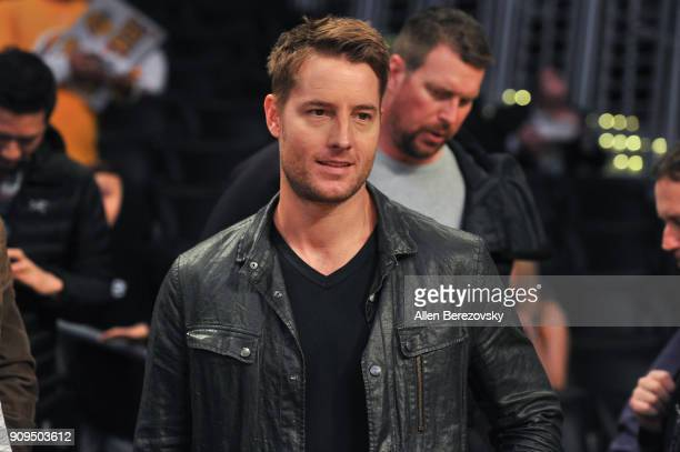 Actor Justin Hartley attends a basketball game between the Los Angeles Lakers and the Boston Celtics at Staples Center on January 23 2018 in Los...
