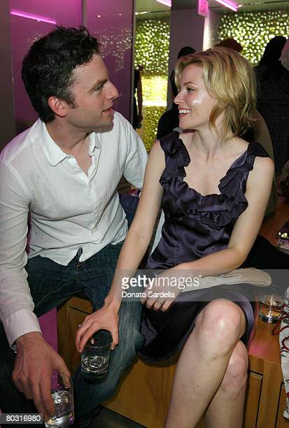 Actor Justin Kirk and actress Elizabeth Banks wearing Prada attend the Los Angeles screening of Trembled Blossoms presented by Prada on March 19 2008...