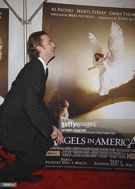 Actor Justin Kirk attends the HBO FILMS Premiere of Angels In America at The Ziegfeld Theater November 4 2003 in New York City
