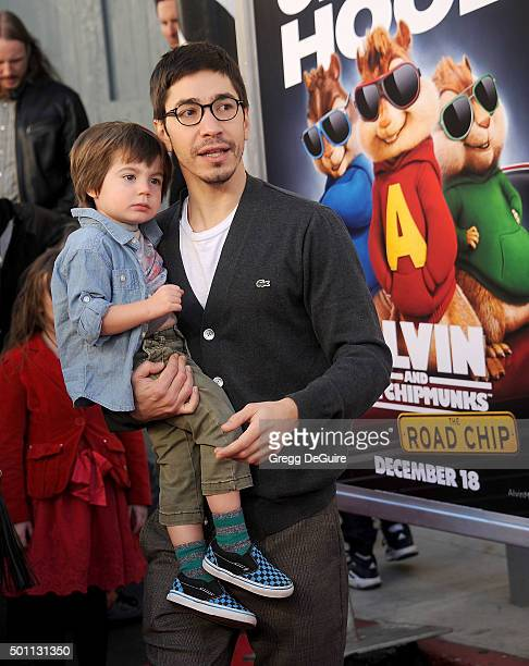Actor Justin Long and godson arrive at the premiere of 20th Century Fox's 'Alvin And The Chipmunks The Road Chip' at Zanuck Theater at 20th Century...