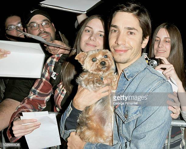 Actor Justin Long arrives at the Super Premiere held at Ryerson Theatre during the 35th Toronto International Film Festival on September 10 2010 in...