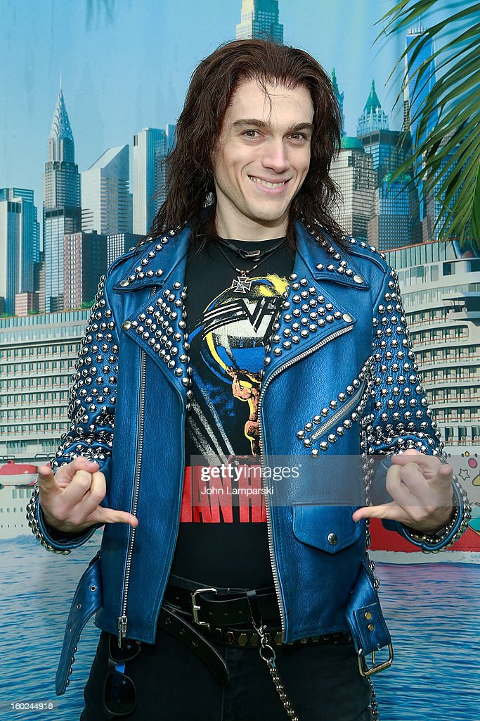 Actor Justin Matthew Sargent of Rock of Ages attend the Norwegian Warming Station launch in Times Square on January 28, 2013 in New York City.