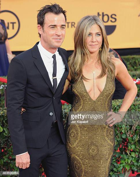 Actor Justin Theroux and actress Jennifer Aniston arrive at the 21st Annual Screen Actors Guild Awards at The Shrine Auditorium on January 25 2015 in...