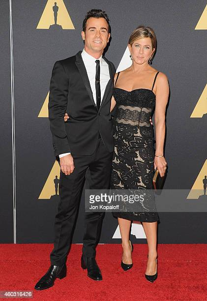 Actor Justin Theroux and actress Jennifer Aniston arrive at the Academy Of Motion Picture Arts And Sciences' Governors Awards at The Ray Dolby...