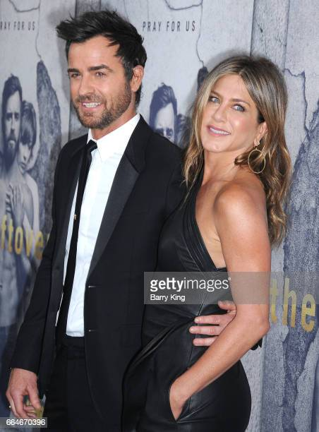 Actor Justin Theroux and actress Jennifer Aniston attend the premiere of HBO's 'The Leftovers' Season 3 at Avalon Hollywood on April 4 2017 in Los...
