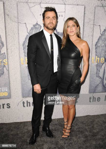 Actor Justin Theroux and actress Jennifer Aniston attend the season 3 premiere of The Leftovers at Avalon Hollywood on April 4 2017 in Los Angeles...