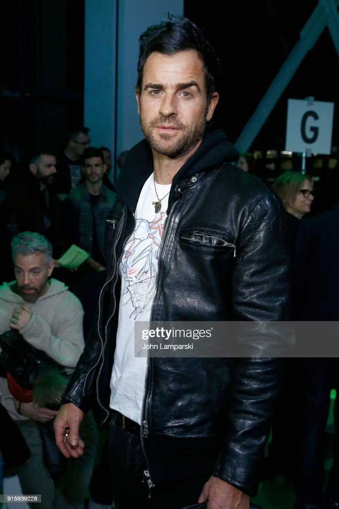 Actor Justin Theroux attends the Adam Selman front row during New York Fashion Week: The Shows at Gallery I at Spring Studios on February 8, 2018 in New York City.