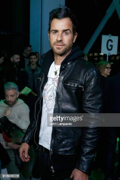 Actor Justin Theroux attends the Adam Selman front row during New York Fashion Week The Shows at Gallery I at Spring Studios on February 8 2018 in...