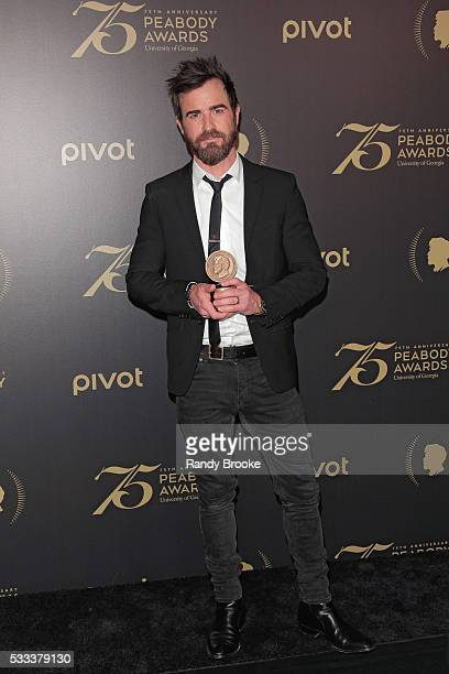 Actor Justin Theroux in the press room with the Peabody for HBO's The Leftovers after the 75th Annual Peabody Awards Ceremony at Cipriani Wall Street...