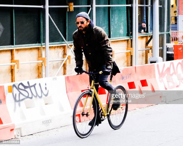 Actor Justin Theroux is seen biking in Soho on April 10 2018 in New York City