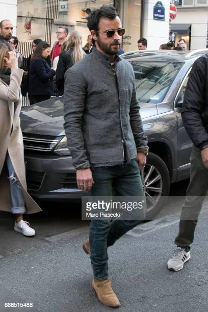 Actor Justin Theroux is seen leaving the 'Colette' store on April 14 2017 in Paris France