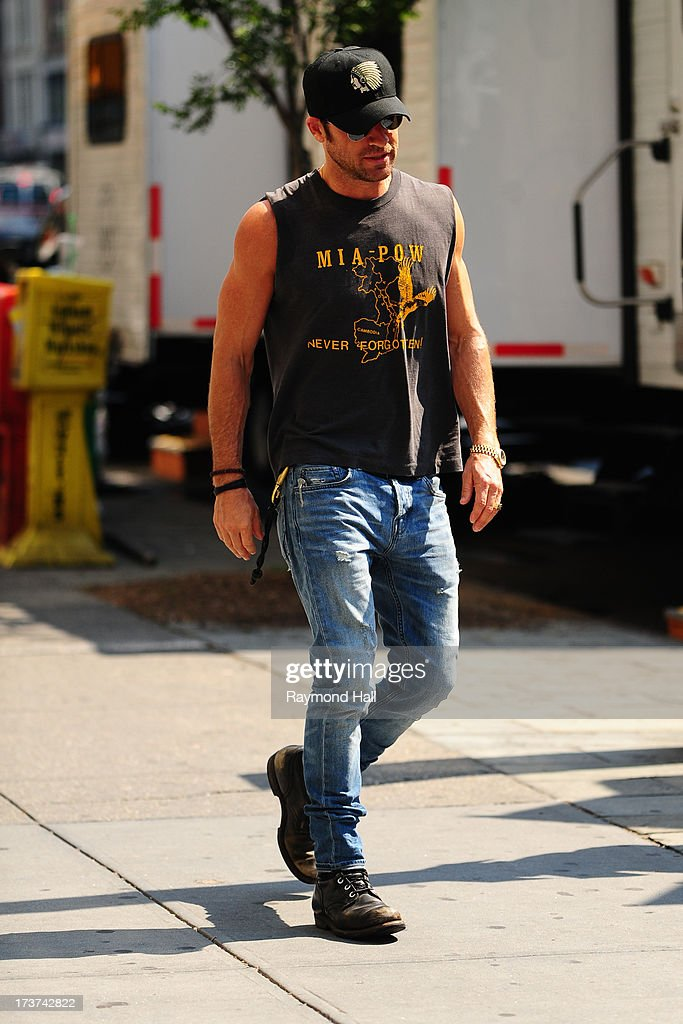 Actor Justin Theroux is seen on the set of 'Squirrels to the Nuts' on July 17, 2013 in New York City.