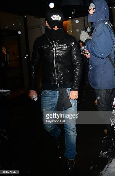 Actor Justin Theroux is seen outside actor Philip Seymour Hoffman's expartner Mimi O'Donnell's apartment on February 3 2014 in New York City Philip...
