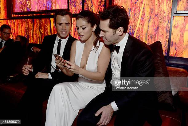 Actor Justin Theroux singer Selena Gomez and actor Paul Rudd attend the 2015 InStyle And Warner Bros 72nd Annual Golden Globe Awards PostParty at The...