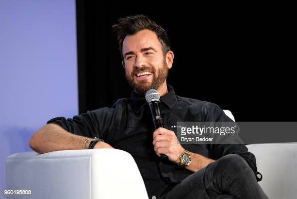 Actor Justin Theroux speaks onstage during Getting Curious With Jonathan Van Ness Live at Day Two of the Vulture Festival Presented By ATT at Milk...