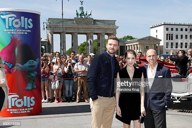 Actor Justin Timberlake actress Anna Kendrick and producer Jeffrey Katzenberg attend the 'Trolls' photo call at Brandenburg Gate on May 10 2016 in...
