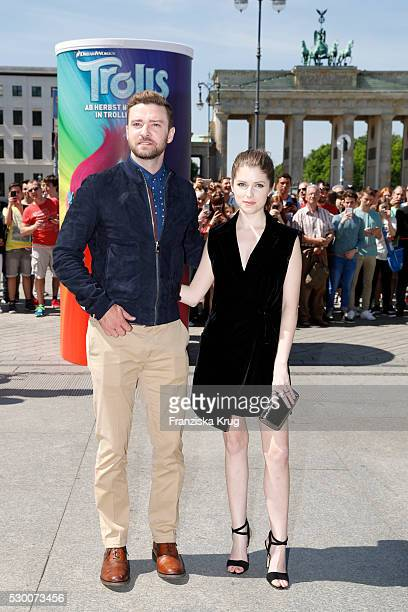 Actor Justin Timberlake and actress Anna Kendrick attend the 'Trolls' photo call at Brandenburg Gate on May 10 2016 in Berlin Germany