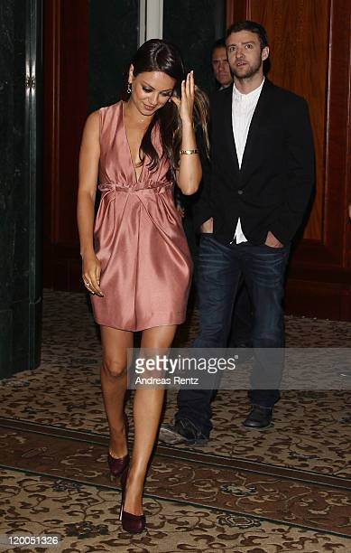 Actor Justin Timberlake and actress Mila Kunis arrive for the 'Freunde Mit Gewissen Vorzuegen' Berlin photocall at Hotel Adlon on July 29 2011 in...